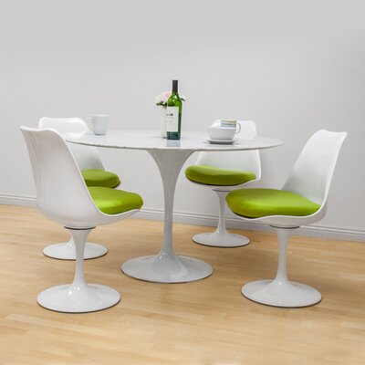 Salgado 5 Piece Dining Set Chair Color: Green