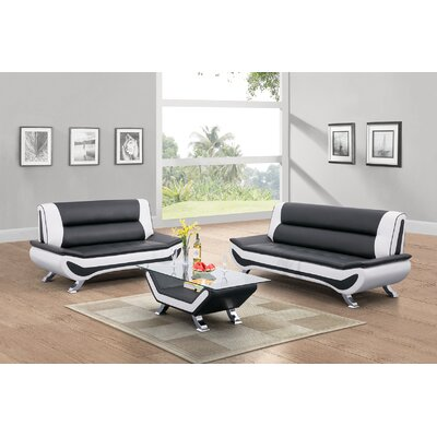 Normanson 2 Piece Living Room Set Upholstery: White/Black