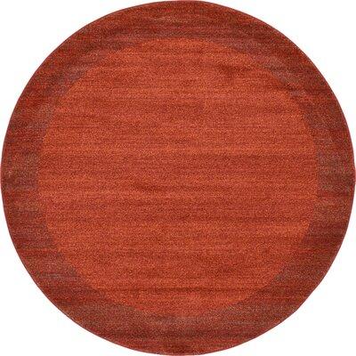 Gutzman Terracotta Area Rug Rug Size: Round 8