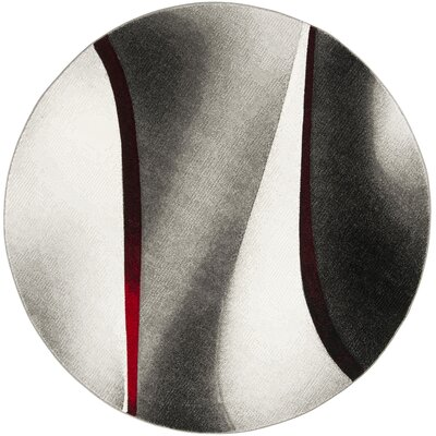 Anne Gray/True Red Area Rug Rug Size: Round 67