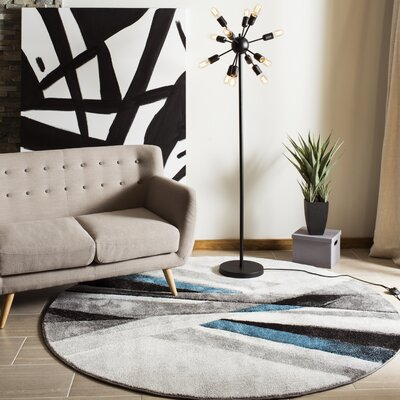 Anne Abstract Gray/Teal Area Rug Rug Size: Round 67