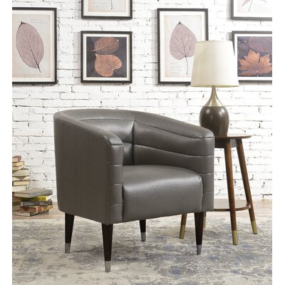 Balham Modern Style Faux Leather Barrel Chair