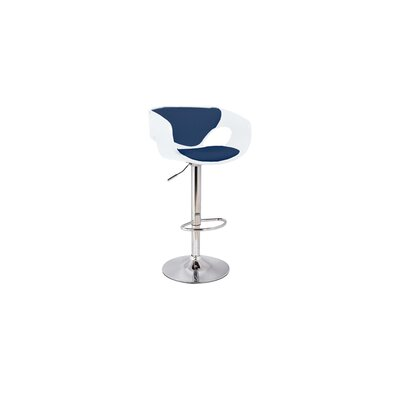 Kimbro Adjustable Height Swivel Bar Stool Base Color: Chrome, Uplolstery: White/Navy