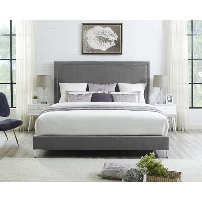 Oster Upholstered Panel Bed Color: Black, Upholstery: Leather, Size: King
