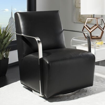 Bevill Swivel Arm Chair Upholstered: Black