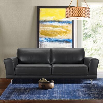 Randalholme Contemporary Leather Sofa Upholstery: Black
