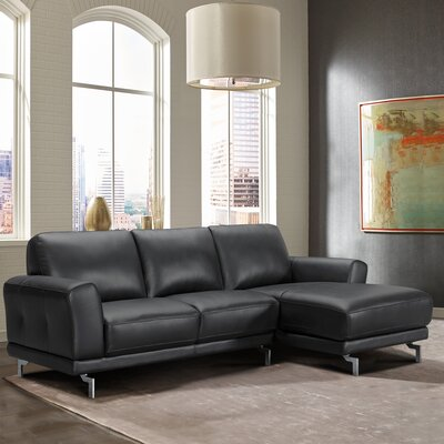 Randalholme Contemporary Leather Sectional Upholstery: Black