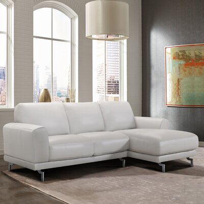 Randalholme Contemporary Leather Sectional Upholstery: Dove Gray