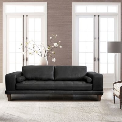 Randolph Contemporary Leather Sofa Upholstery: Black