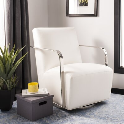 Bevill Swivel Arm Chair Upholstered: White