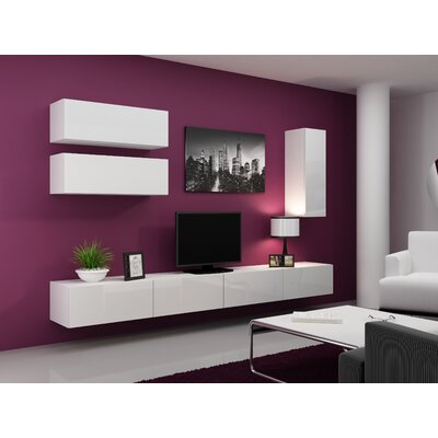 Jaggers 70.8 TV Stand and 2 Wall Cabinets Color: White/White
