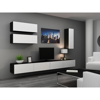 Jaggers 70.8 TV Stand and 2 Wall Cabinets Color: Black/White