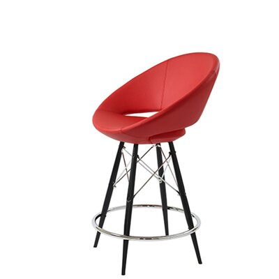 Hedgepeth Dowel 29 Bar Stool Leg Color: Black, Seat Color: Red Leatherette