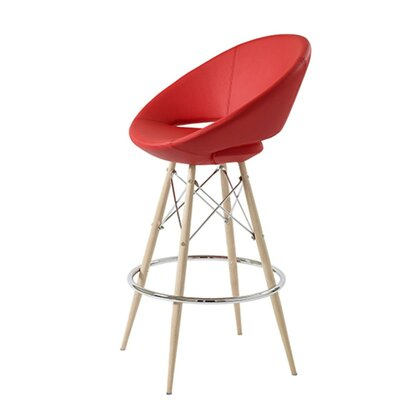 Hedgepeth Dowel 24 Bar Stool Leg Color: Natural, Seat Color: Red Leatherette