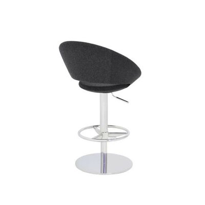Hedgepeth Piston Adjustable Height Swivel Bar Stool Leg Color: Stainless Steel, Seat Color: Black Leatherette