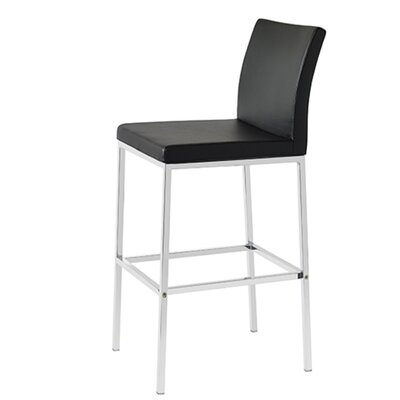 Heffington 24 Bar Stool Seat Color: Black Leatherette