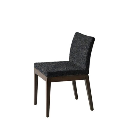 Heffington Upholstered Dining Chair Upholstery Color: Dark Gray, Leg Color: Walnut