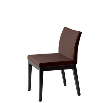 Heffington Upholstered Dining Chair Upholstery Color: Brown Leatherette, Leg Color: Wenge
