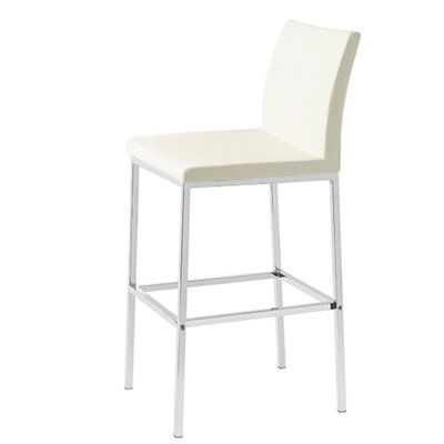 Heffington 24 Bar Stool Seat Color: White Leatherette