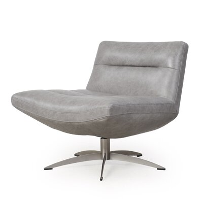 Taran Leather Swivel Slipper Chair