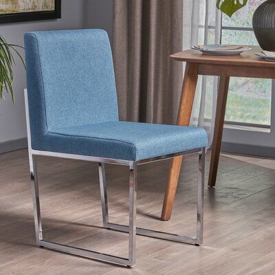 Hanneman Modern Upholstered Dining Chair Upholstery Color: Blue
