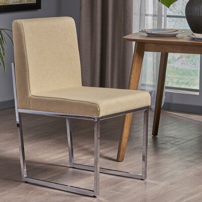 Hanneman Modern Upholstered Dining Chair Upholstery Color: Dark Beige