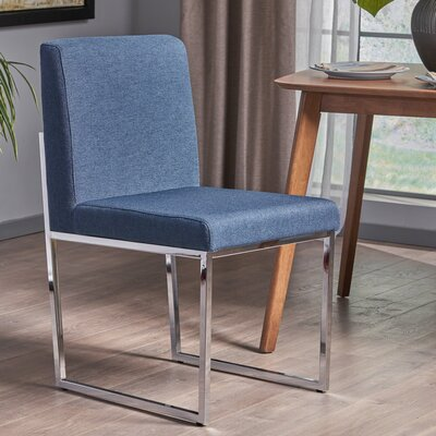 Hanneman Modern Upholstered Dining Chair Upholstery Color: Navy Blue