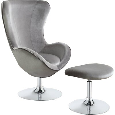 Lagasse Barrel Chair and Ottoman Upholstery: Gray