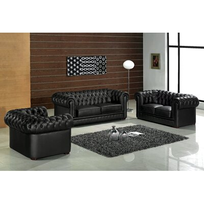 Botkin Leather 3 Piece Living Room Set Upholstery: Black