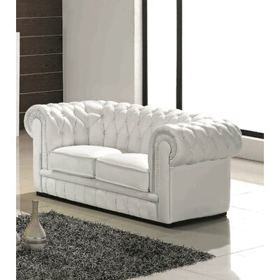 Botkin Leather Chesterfield Loveseat Upholstery: White