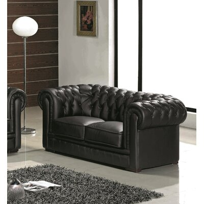 Botkin Leather Chesterfield Loveseat Upholstery: Black