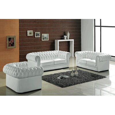 Botkin Leather 3 Piece Living Room Set Upholstery: White