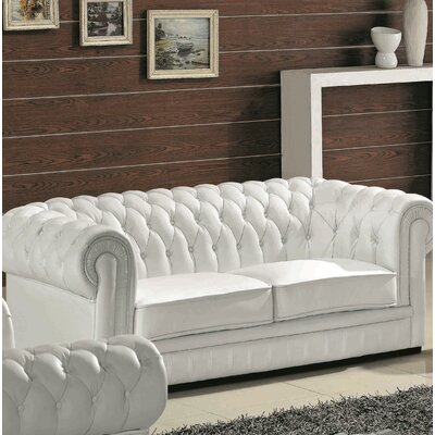Botkin Leather Chesterfield Sofa Upholstery: White