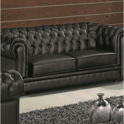 Botkin Leather Chesterfield Sofa Upholstery: Black
