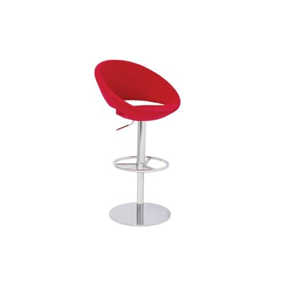 Hedgepeth Piston Adjustable Height Swivel Bar Stool Leg Color: Stainless Steel, Seat Color: Red Leatherette
