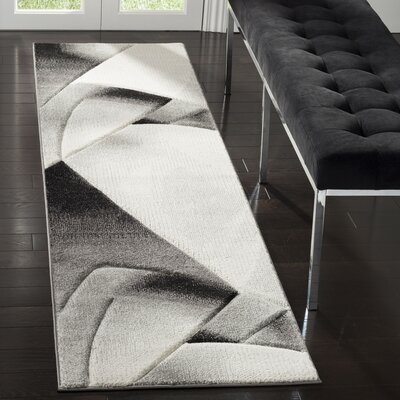 Anne Abstract Gray/Dark Gray Area Rug Rug Size: Rectangle 22 x 8