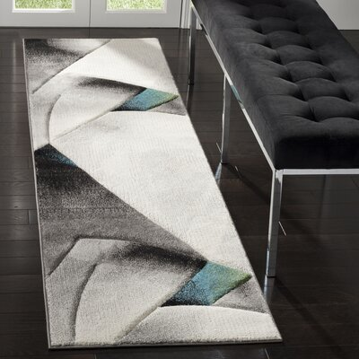 Anne Abstract Power Loomed Gray/Teal Area Rug Rug Size: Runner 22 x 8