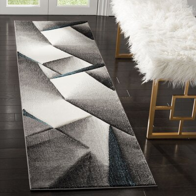 Anne Tukish Gray/Teal Area Rug Rug Size: Rectangle 22 x 8
