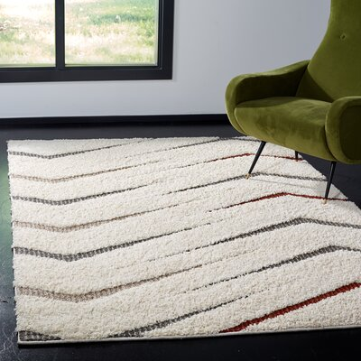Grund Shag Cream/Gray Area Rug Rug Size: Rectangle 4 x 6