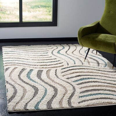 Gruver Shag Cream/Brown Area Rug Rug Size: Rectangle 8 x 10