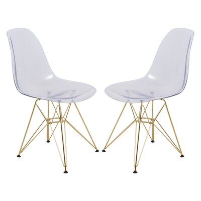 Alethia Patio Dining Chair Color: Clear/Gold