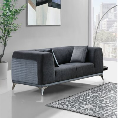Ancroft Textured Loveseat Upholstery: Dark Gray