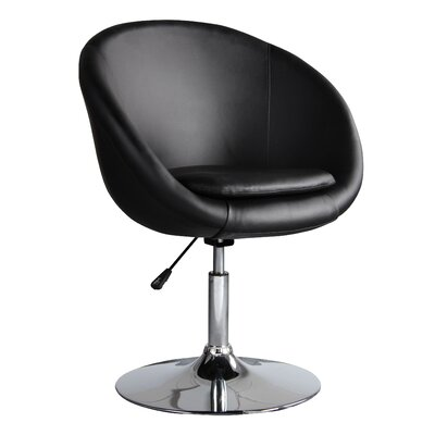 Helmuth Adjustable Leisure Swivel Barrel Chair Upholstery: Black