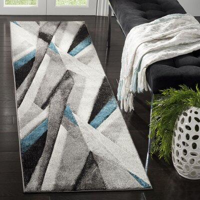 Anne Abstract Gray/Teal Area Rug Rug Size: Runner 22 x 8