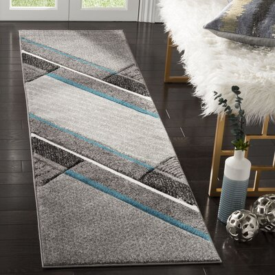 Anne Power Loomed Gray/Teal Area Rug Rug Size: Rectangle 22 x 8
