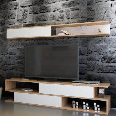 Sandell 71 TV Stand Color: Teak/White