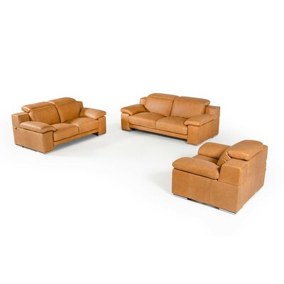 Parodi Italian Cognac Leather 3 Piece Living Room Set
