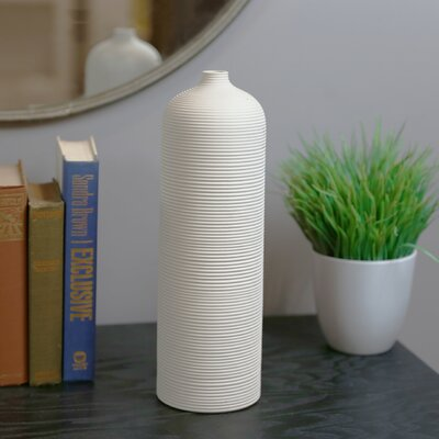 Ribbed Ceramic Cylindrical Table Vase OREL5380 40832179