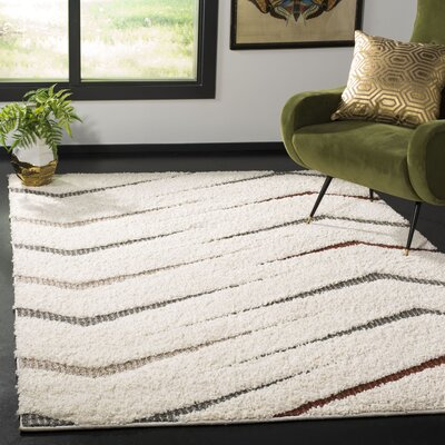 Grund Shag Cream/Gray Area Rug Rug Size: Rectangle 51 x 76