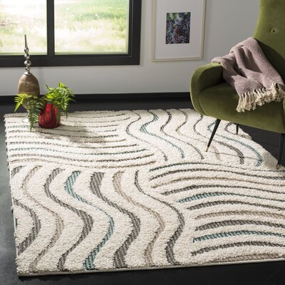 Gruver Shag Cream/Brown Area Rug Rug Size: Rectangle 51 x 76
